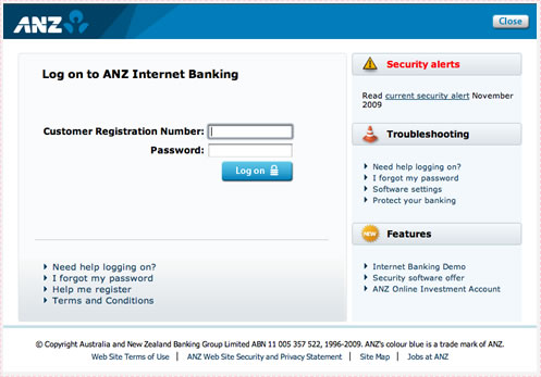 ANZ Log on Screen